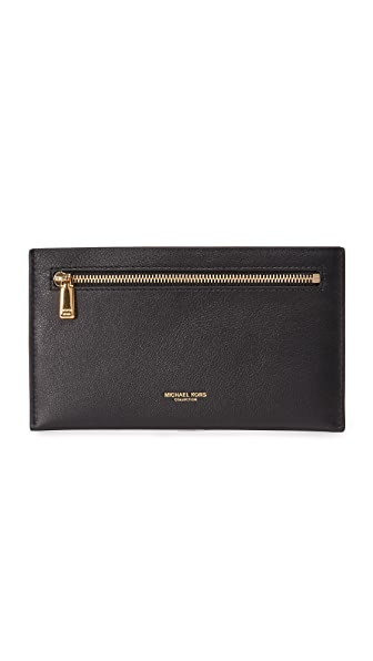 Michael Kors Collection Large Zip Card Case In Black