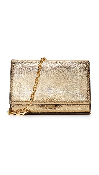 Michael Kors Collection Yasmeen Crackle Clutch - Black Gold