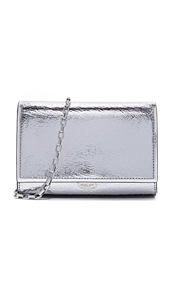 Michael Kors Collection Yasmeen Crackle Clutch - Silver