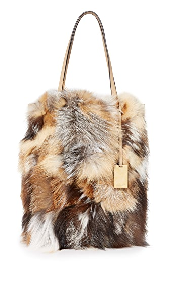 Michael Kors Collection Eleanor Fur Tote - Chino