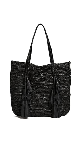 Michael Kors Collection Santorini Tote In Black Raffia