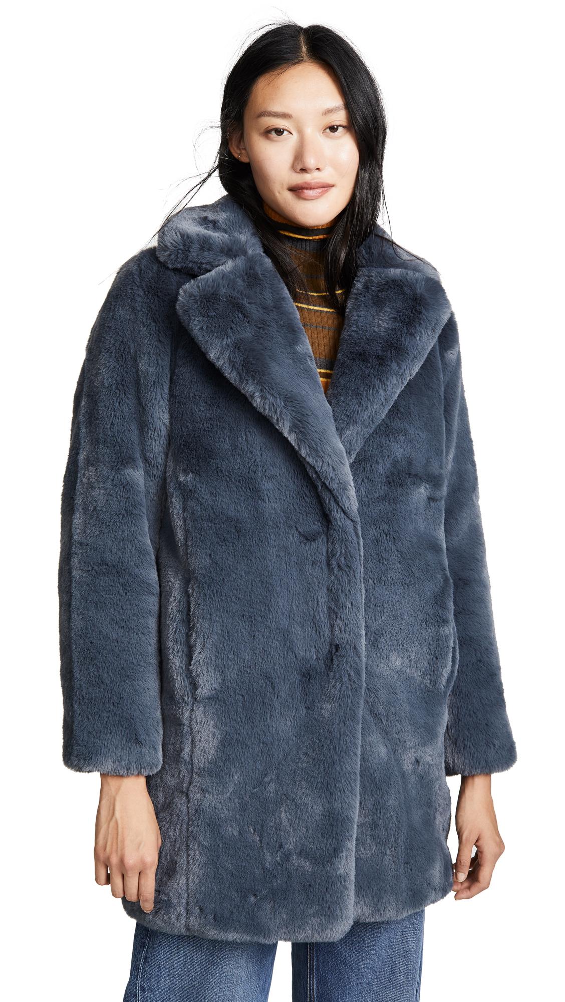 MKT STUDIO Marili Faux Fur Coat in Blue Denim