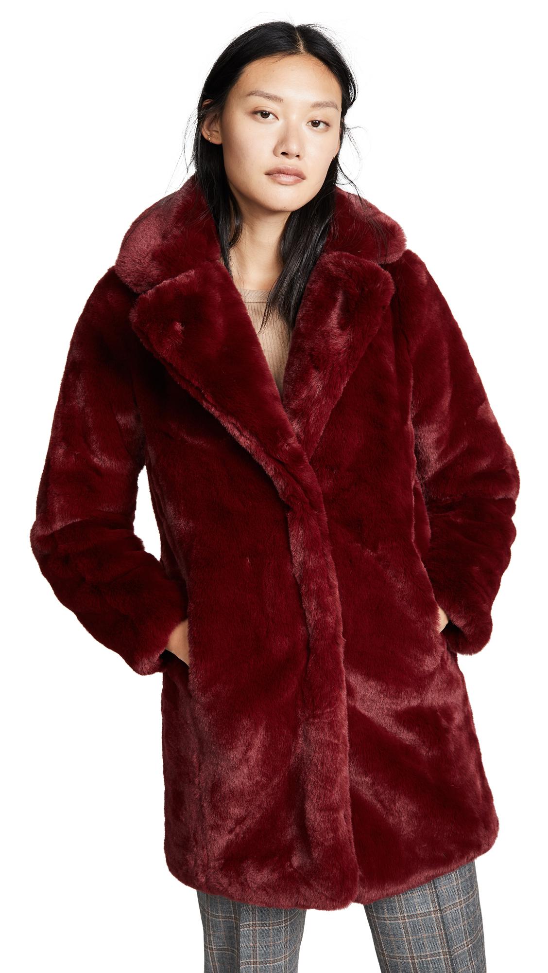 MKT STUDIO Marili Faux Fur Coat in Cherry