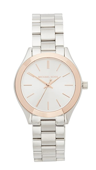 Michael Kors Mini Slim Runway Watch - Silver/Rose Gold