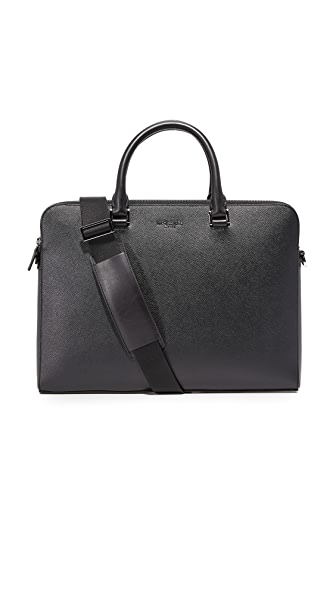 Michael Kors Harrison Leather Medium Double Zip Briefcase