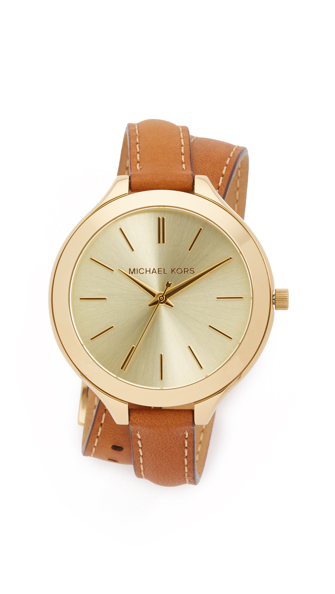michael kors female michael kors slim double wrap watch goldbrown