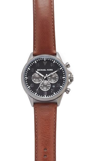 Michael Kors Gage Leather Chronograph Watch