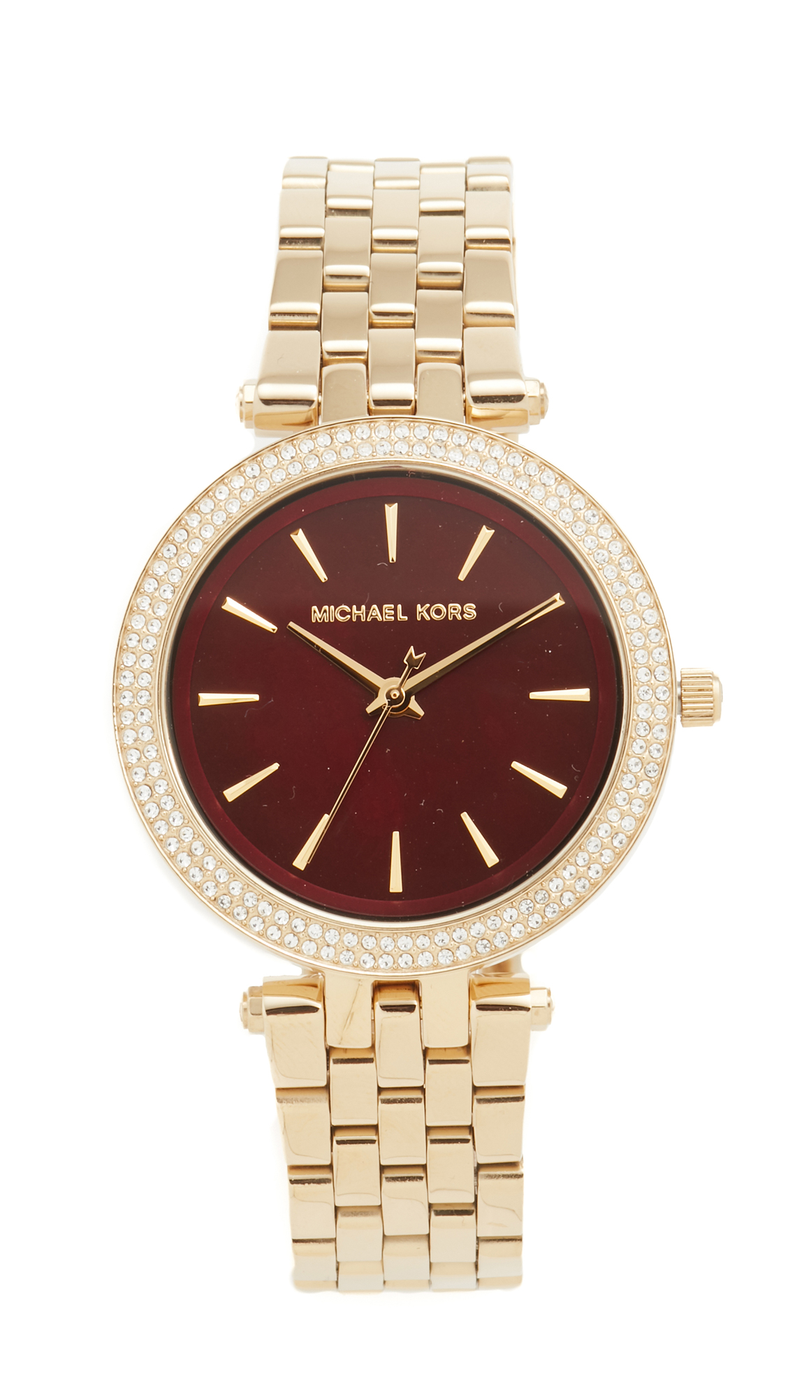 michael kors female michael kors mini darci watch goldgarnet