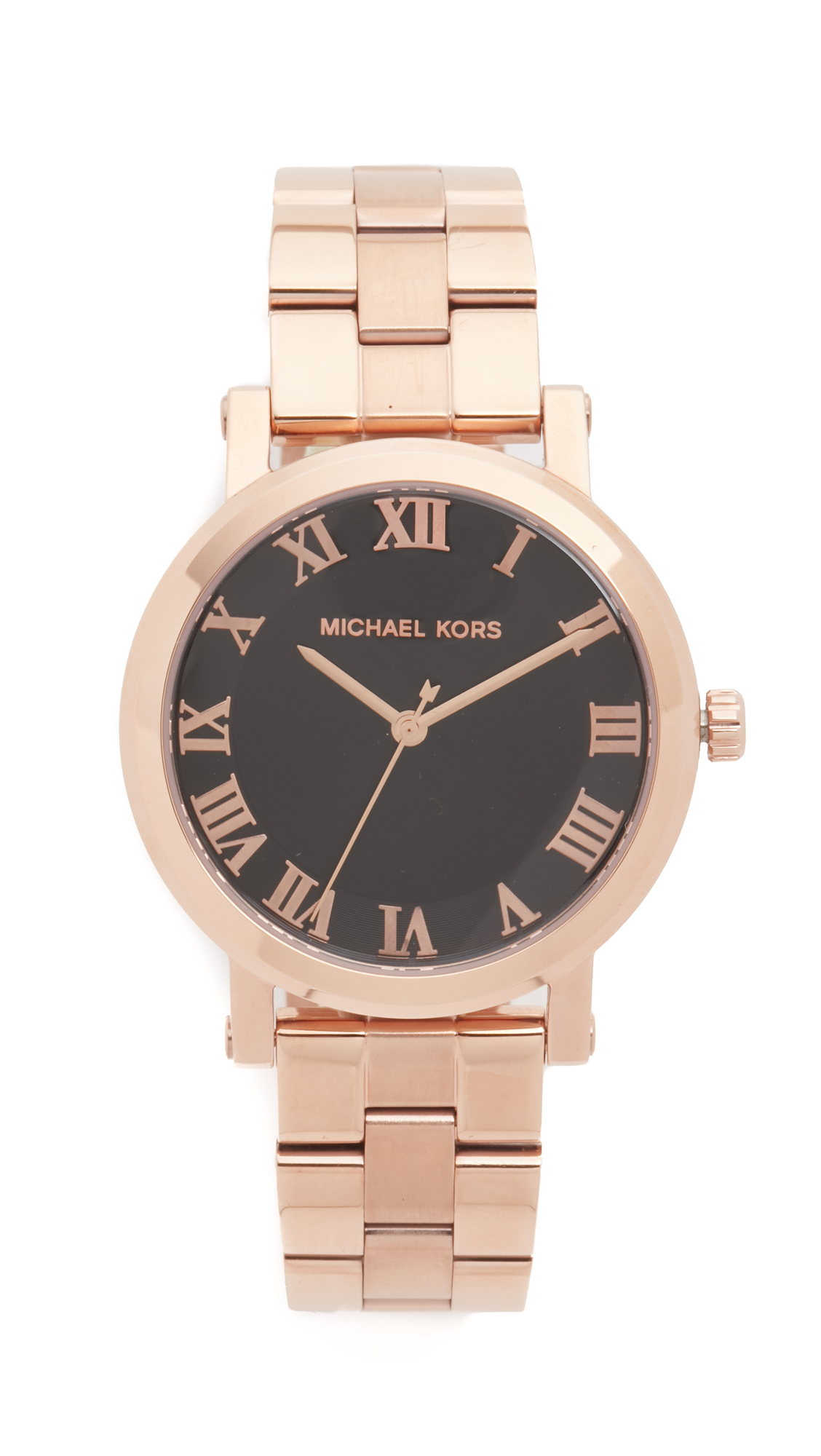 michael kors female michael kors norie watch rose goldblack