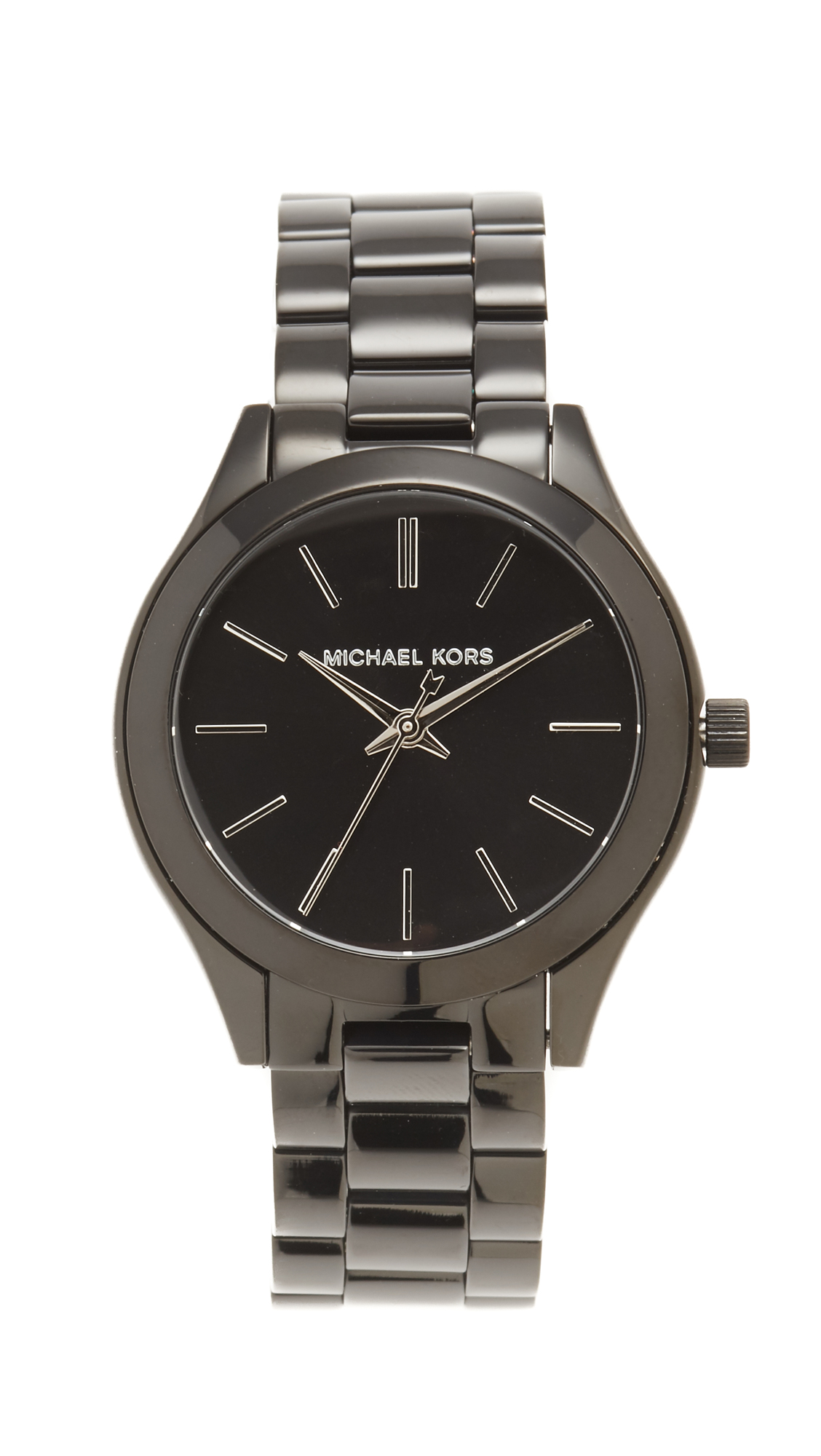 michael kors female michael kors mini slim runway watch blacksilver