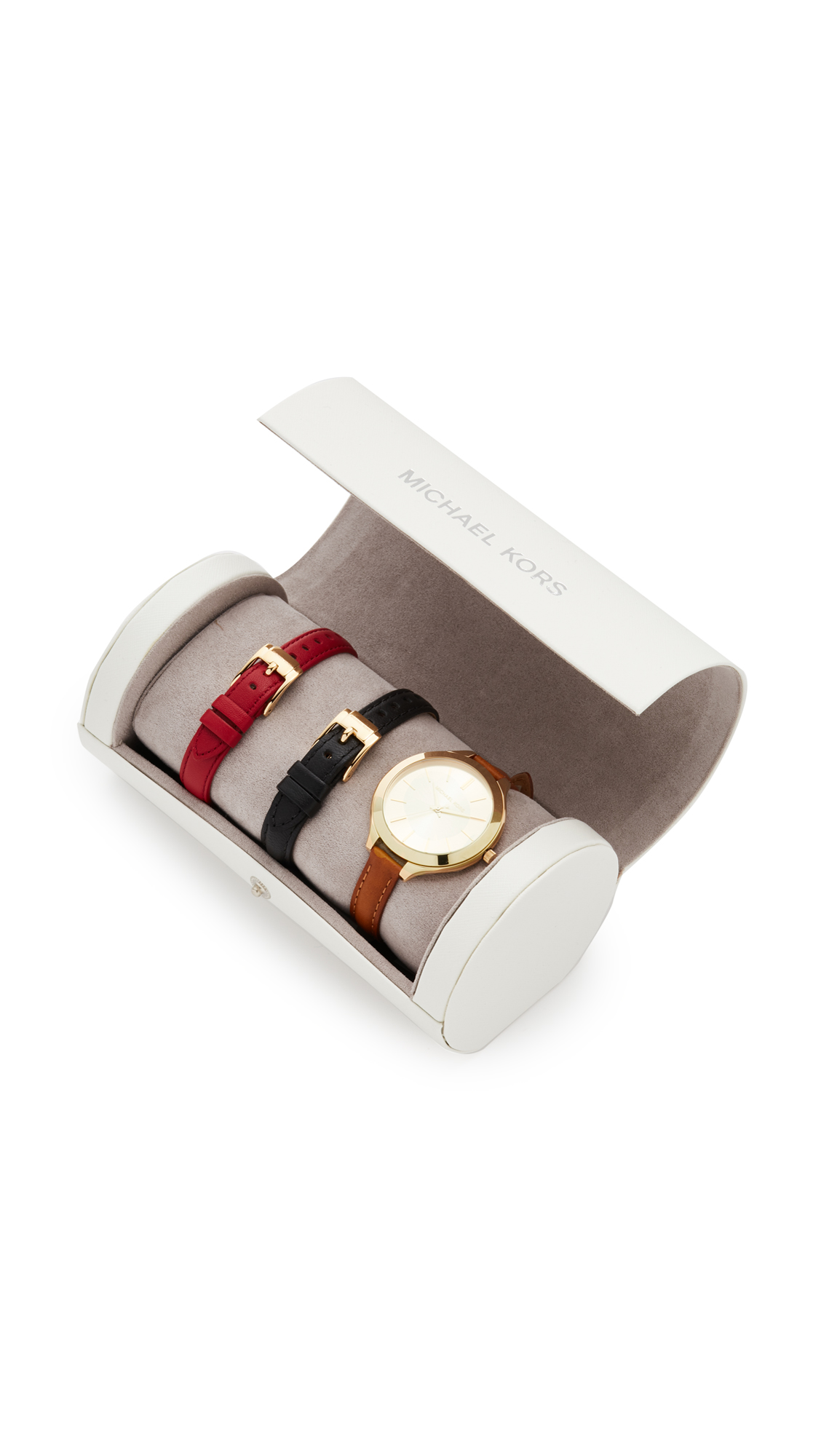 michael kors female michael kors slim runway watch gift set gold multi