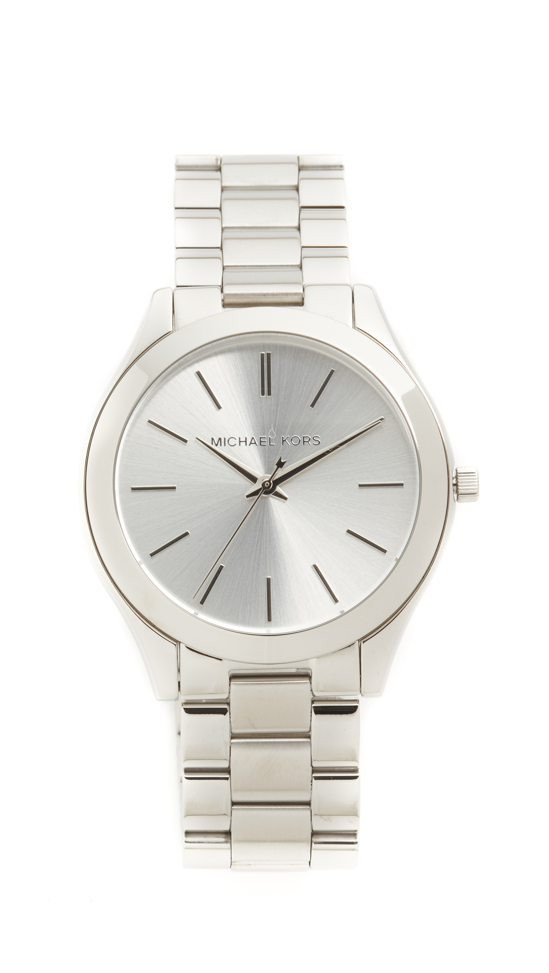 michael kors female michael kors slim runway watch silver