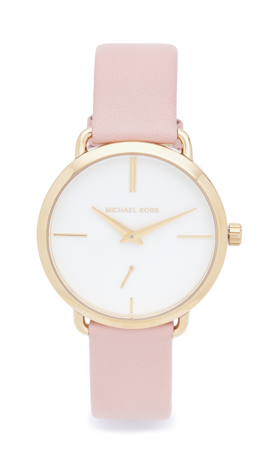 michael kors female michael kors partia leather watch goldwhiteblush
