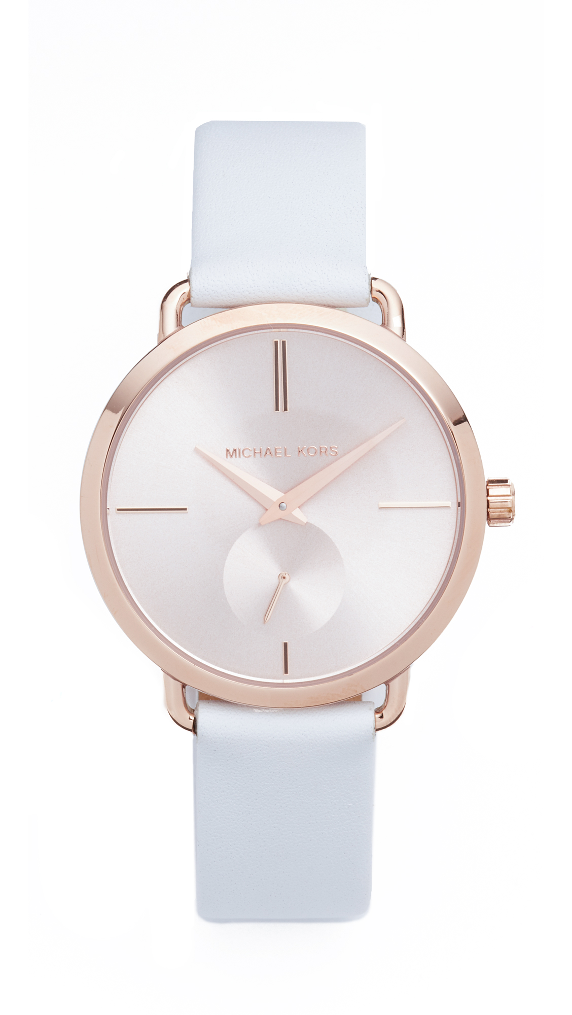 michael kors female michael kors partia leather watch rose goldwhite
