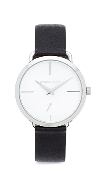 Michael Kors Partia Leather Watch - Silver/White/Black