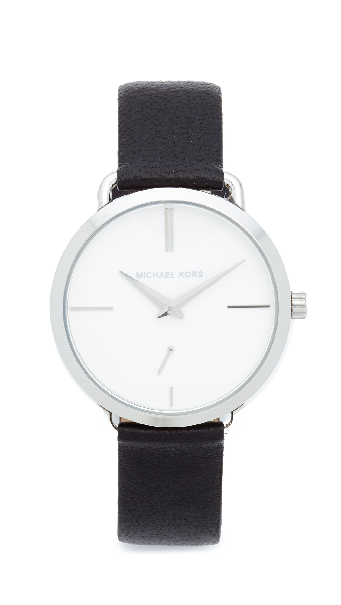 michael kors female michael kors partia leather watch silverwhiteblack