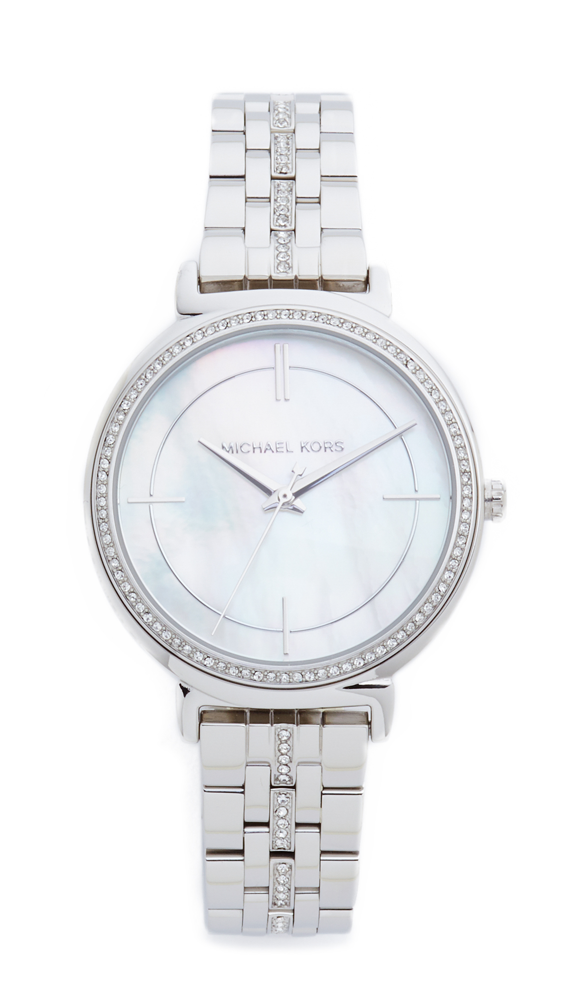 michael kors female michael kors cinthia watch silvermother of pearl