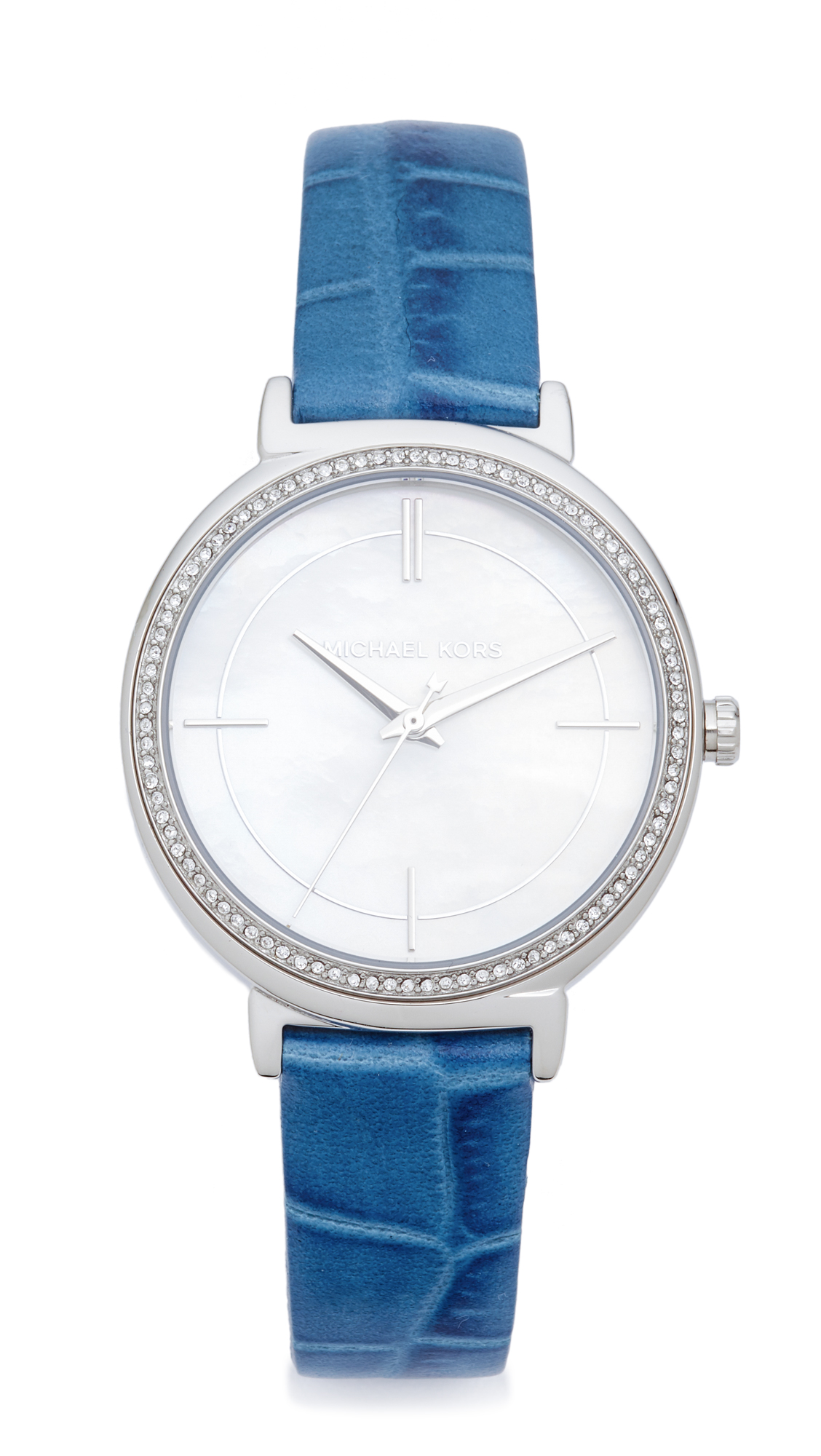 michael kors female michael kors cinthia leather watch silverblue