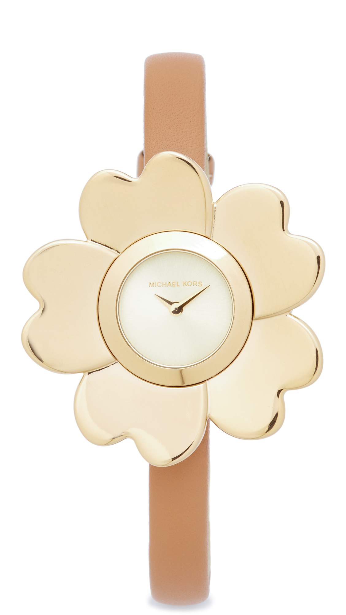 michael kors female michael kors mena leather watch goldpeanut