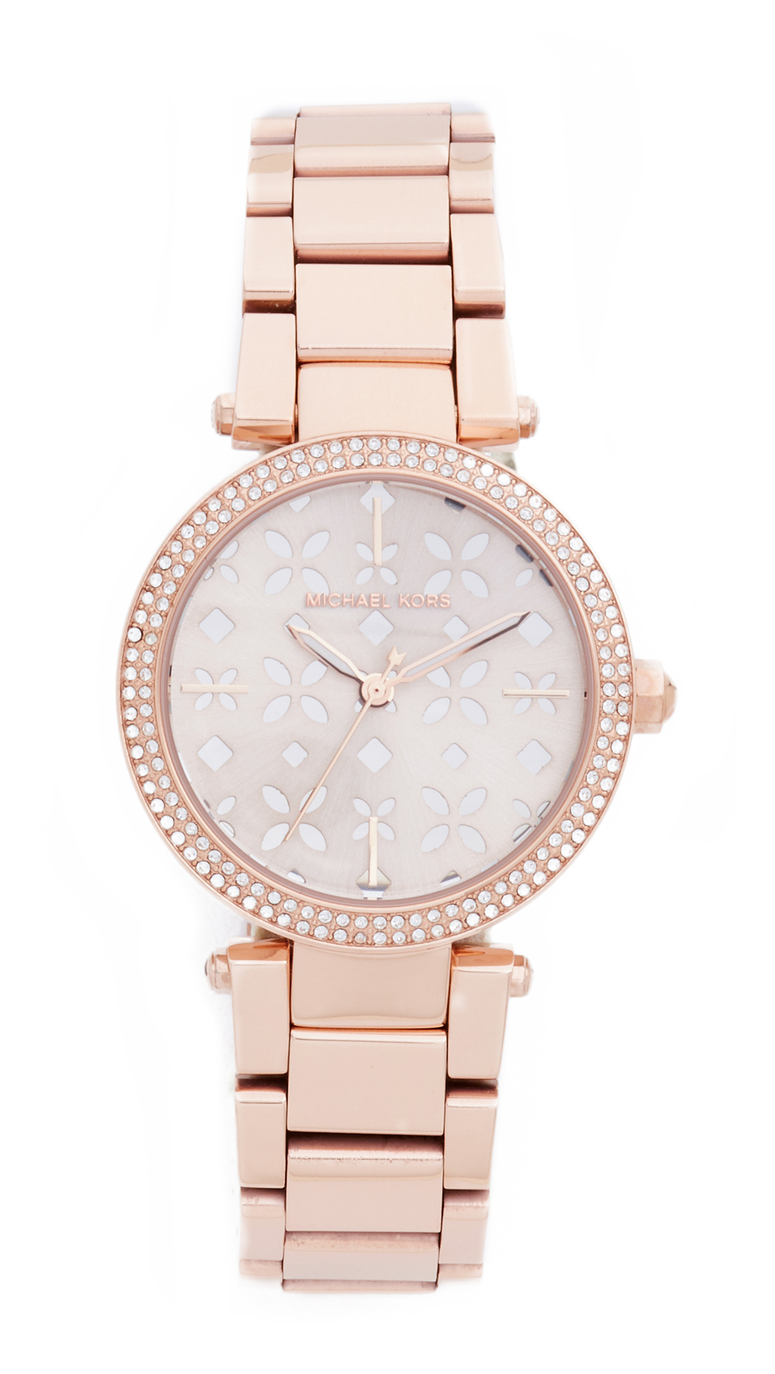 michael kors female michael kors mini parker watch rose goldsilverfloral