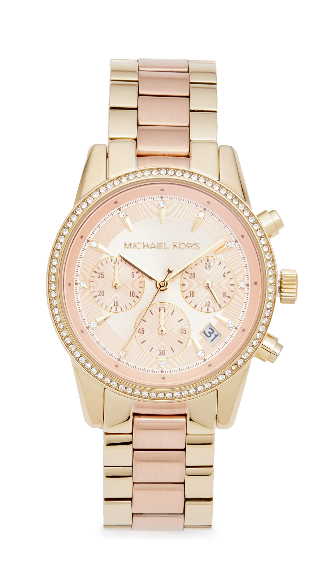 michael kors female michael kors ritz watch goldblush rush