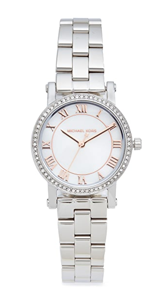 Michael Kors Petite Norie Watch In Silver/Rose Gold