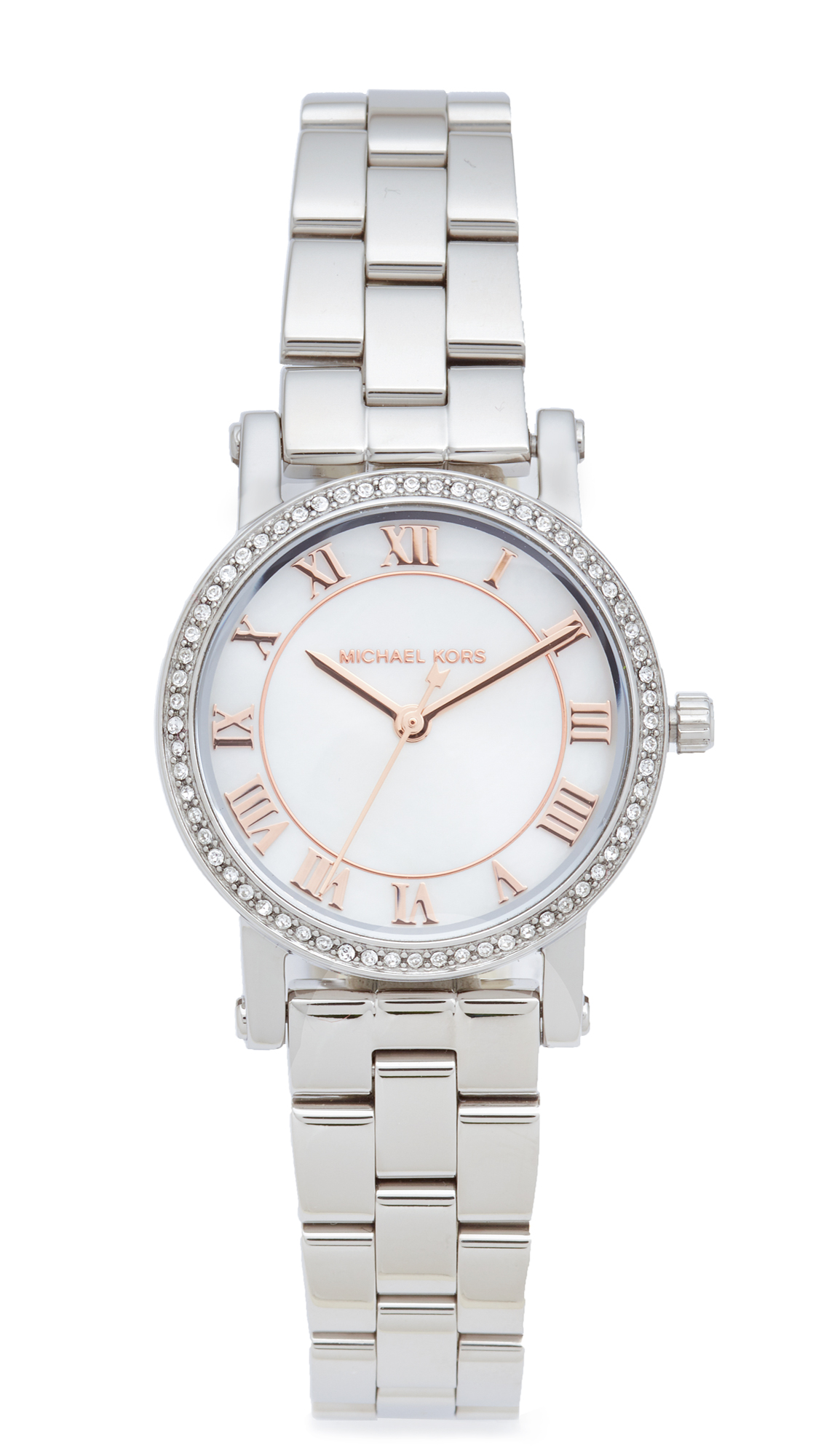 michael kors female michael kors petite norie watch silverrose gold