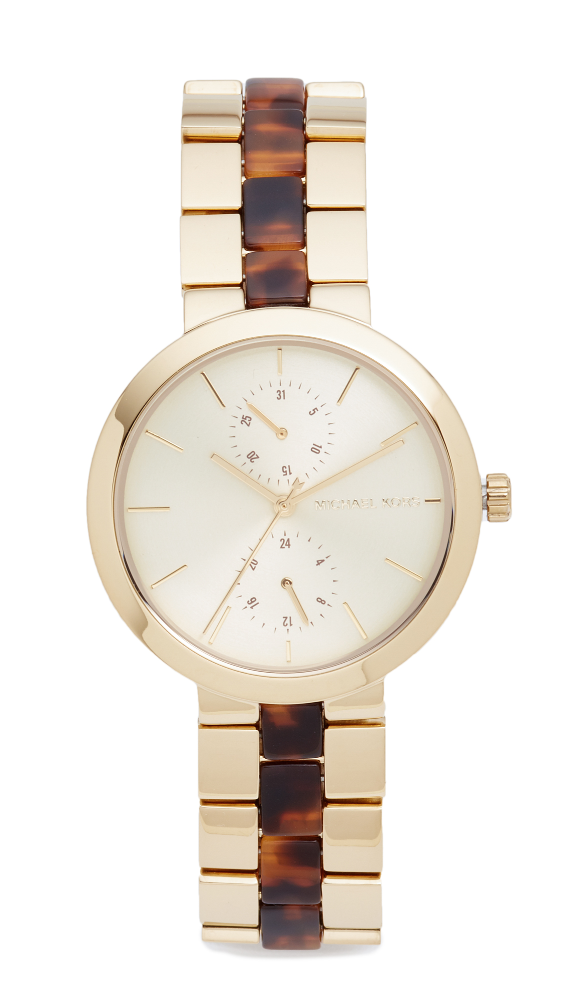 michael kors female michael kors garner watch goldtortoise