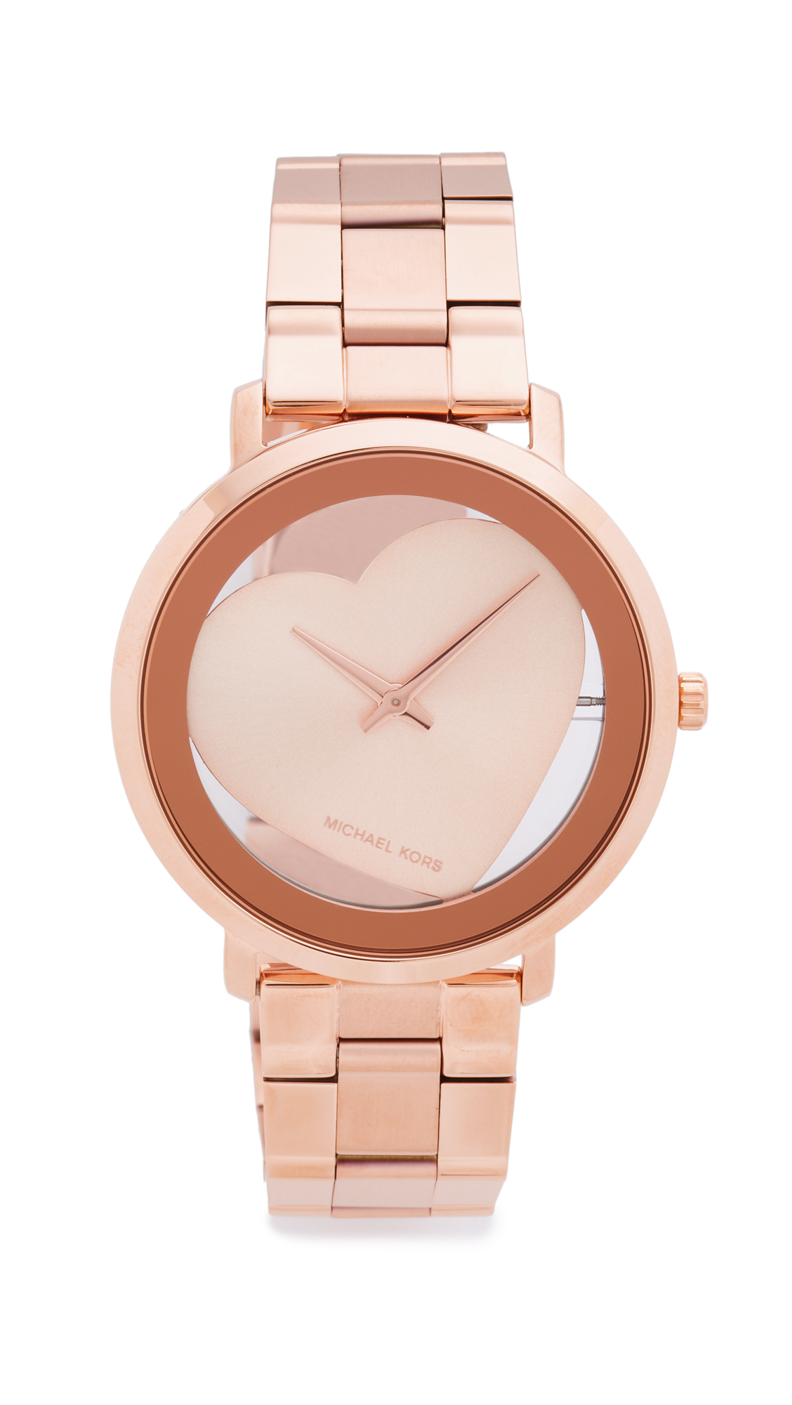 michael kors female michael kors jaryn heart watch rose gold