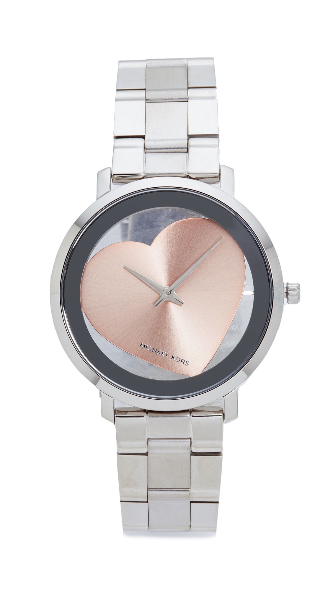 michael kors female michael kors jaryn heart watch silverrose gold