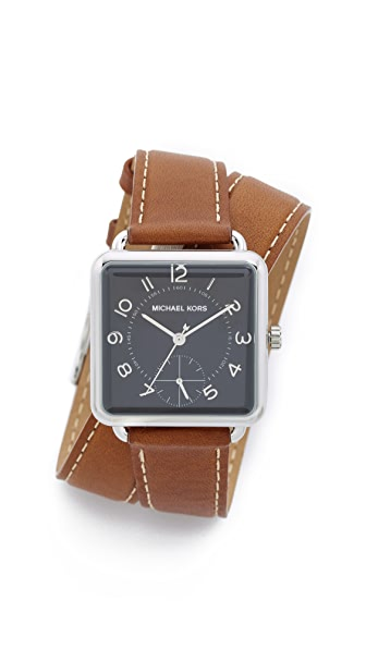 Michael Kors Brenner Leather Wrap Watch