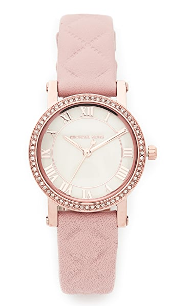 Michael Kors Petite Norie Leather Watch - Rose Gold