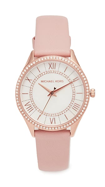 Michael Kors Lauryn Leather Watch In Rose Gold/White/Blush
