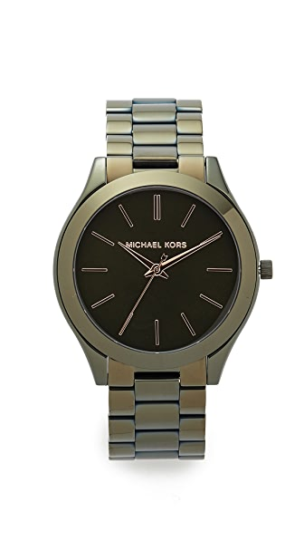 Michael Kors Slim Runway Watch In Olive