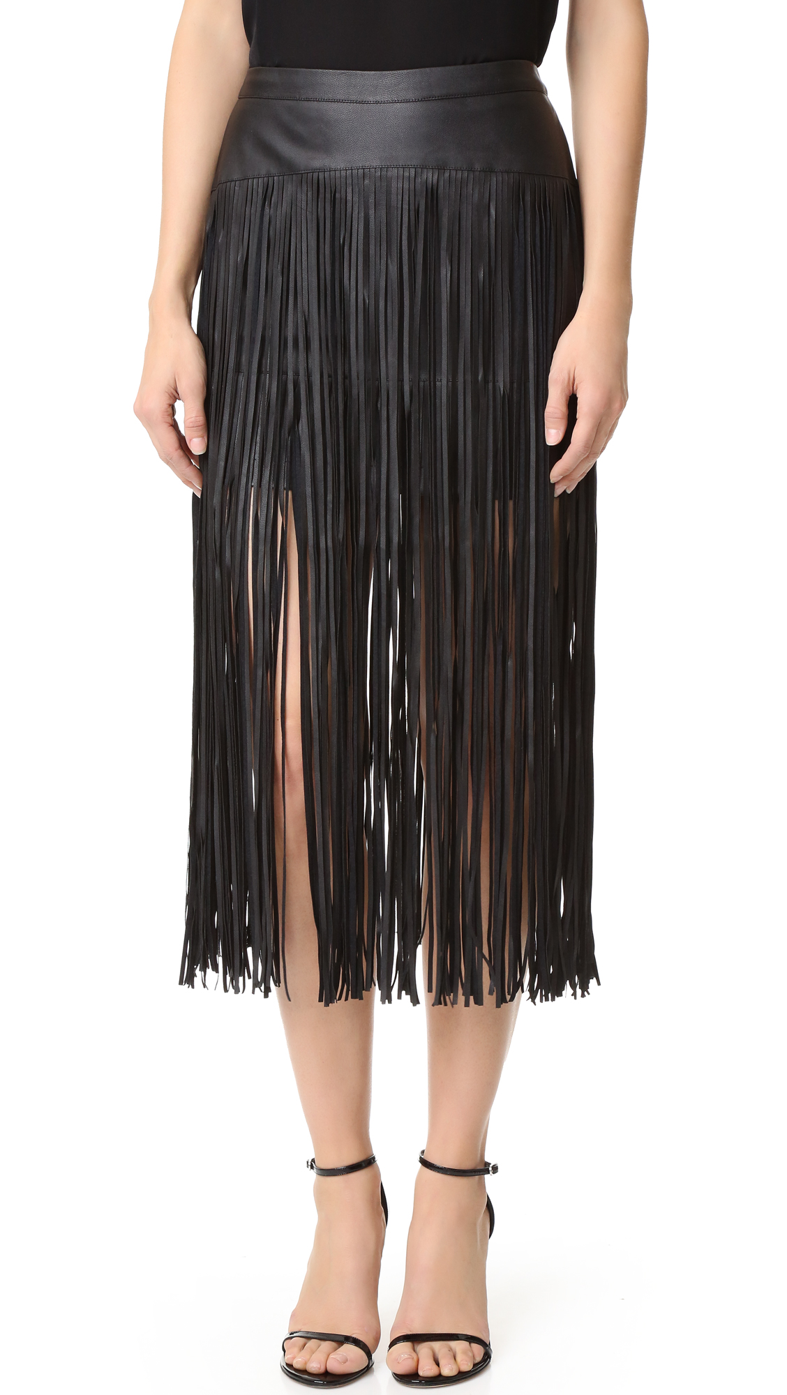 Layers of long fringe add an edgy look to this faux leather MLM LABEL skirt. Exposed back zip. Lined. Fabric: Faux leather. Shell: 60% polyester/40% polyurethane. Lining: 97% polyester/3% elastane. Spot clean. Imported, China. Measurements Length 1: 14.5in / 37cm,