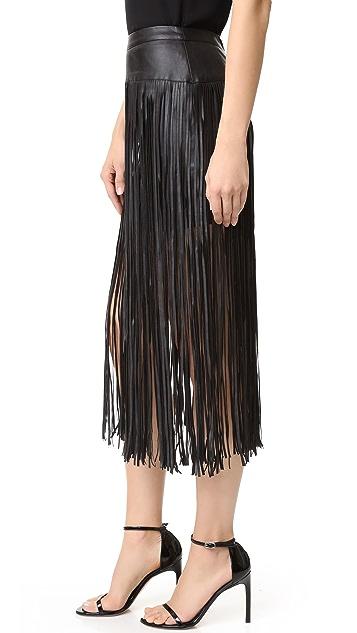 MLM LABEL Fringe Faux Leather Skirt