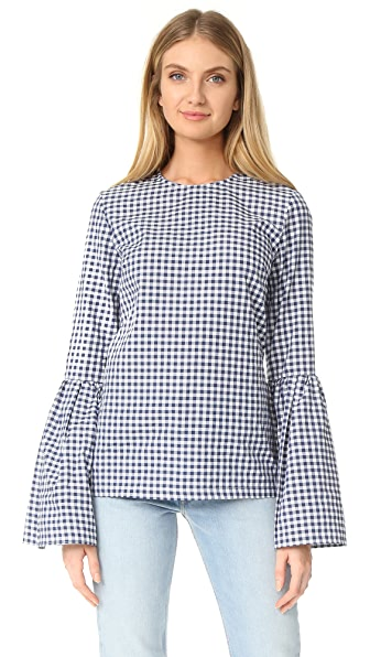 MLM LABEL Rhodes Top - Small Navy Gingham/White