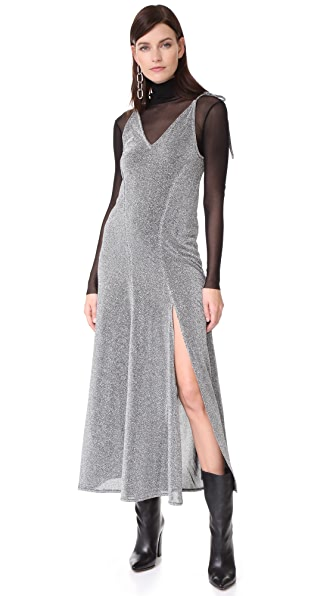 MLM LABEL Miami Tie Slip Dress In Silver