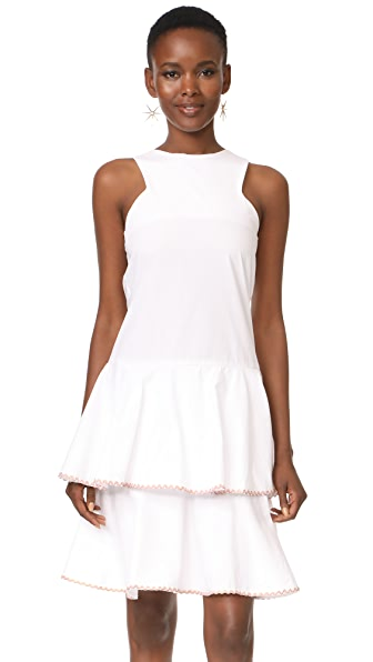 MLM LABEL Arles Tier Dress - White with Rainbow Trim