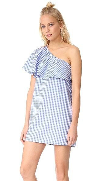MLM LABEL Henri Frill Shoulder Dress In Blue/White Gingham