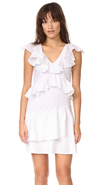 MLM LABEL Charm Poplin Ruffle Dress - White