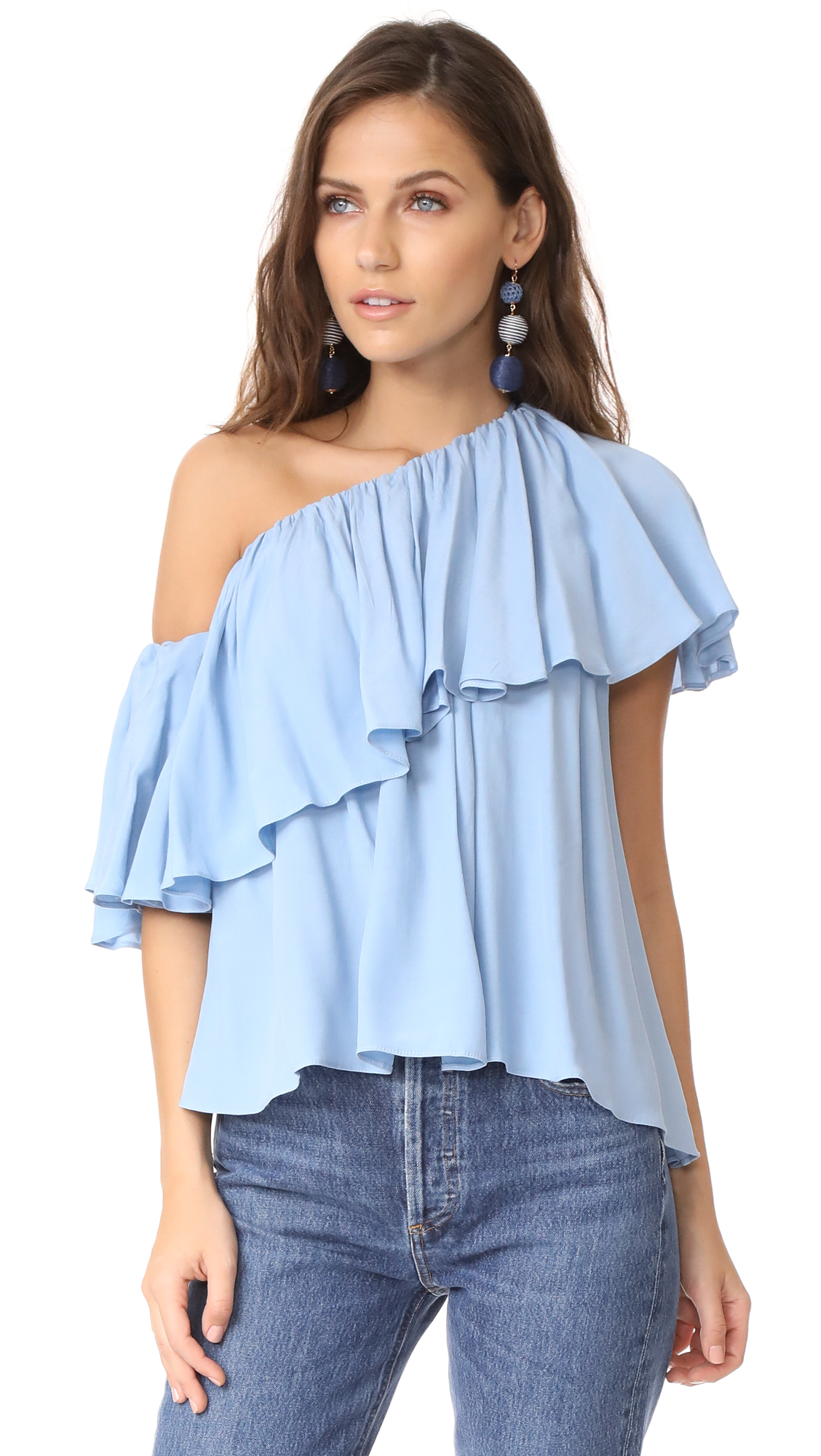MLM LABEL One Shoulder Maison Top - Baby Blue