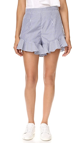 MLM LABEL Jett Ruffle Shorts - Dusted Blue Stripe