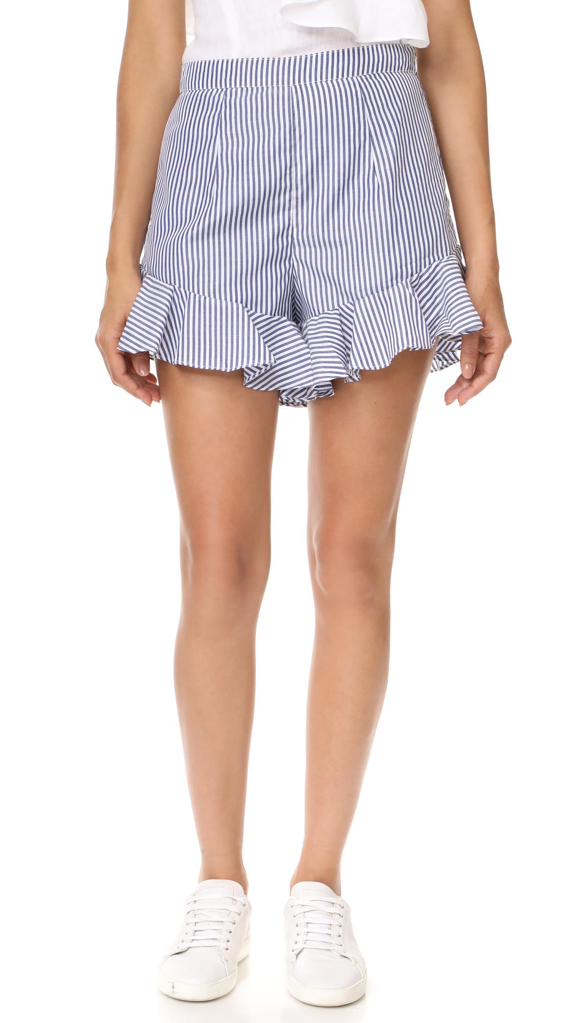 MLM LABEL Jett Ruffle Shorts - Dusted Blue Stripe