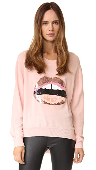 Markus Lupfer Tonal Sequin Lara Lip Joey Sweater In Blush