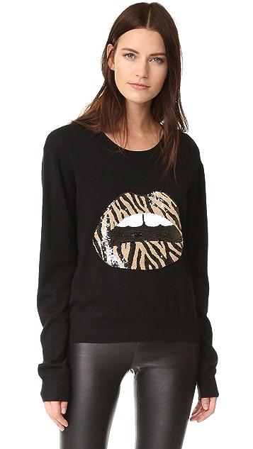 Markus Lupfer Zebra Sequin Lip Sweater