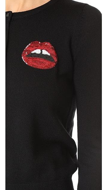 Markus Lupfer Red Sequin Mini Lara Lip April Cardigan