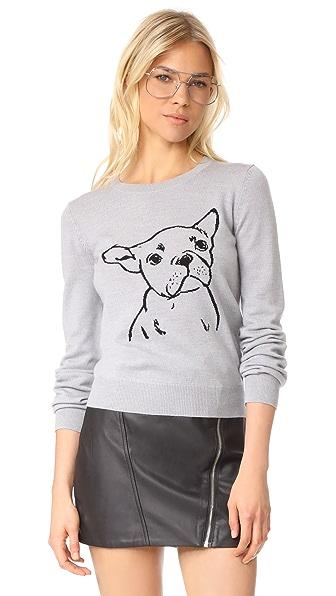 Markus Lupfer French Bulldog Sweater In Light Grey