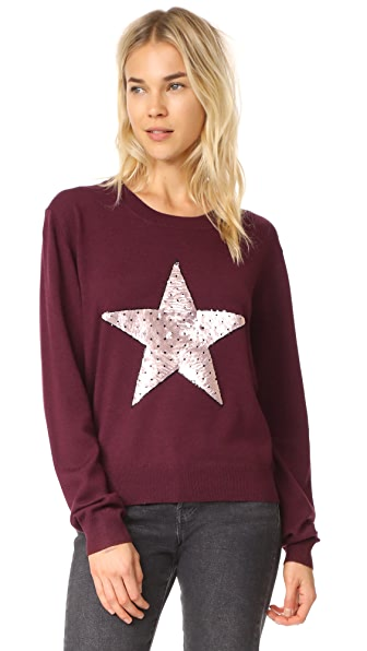 Markus Lupfer Sequin Star Joey Jumper In Dark Red
