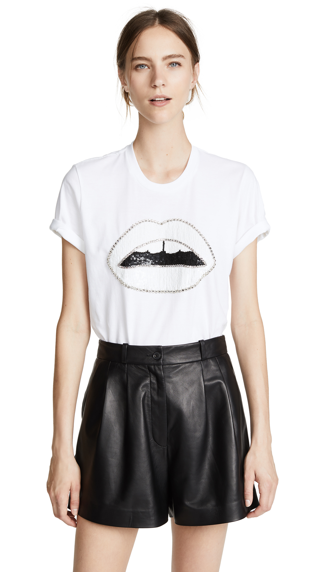 MARKUS LUPFER Alex Crystal Lara Lip T-Shirt in White